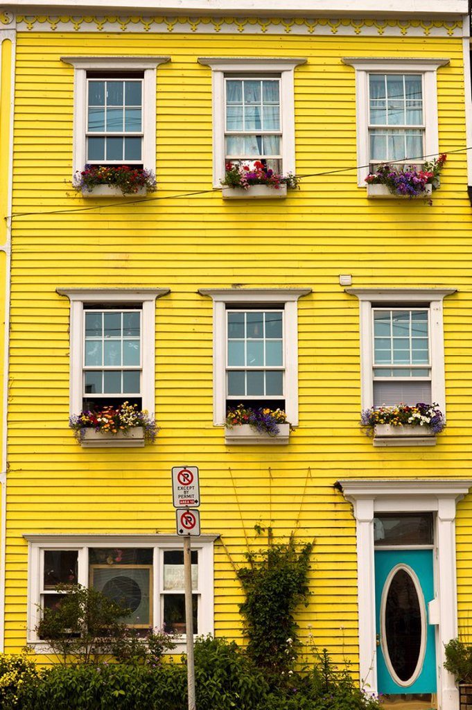 Window Boxes on row house on Queen Road, St. John´s, Newfoundland and Labrador, Canada. : Stock Photo
