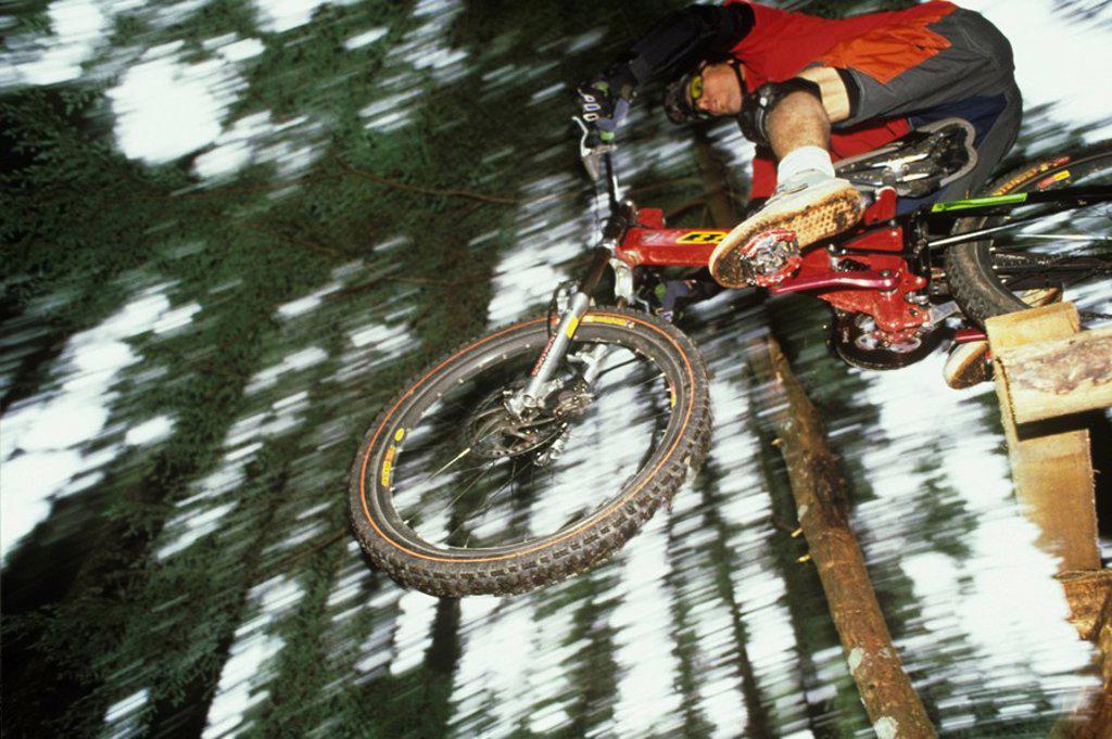 Stock Photo: 1990-3943 Mountain biker in squamish, british columbia, canada