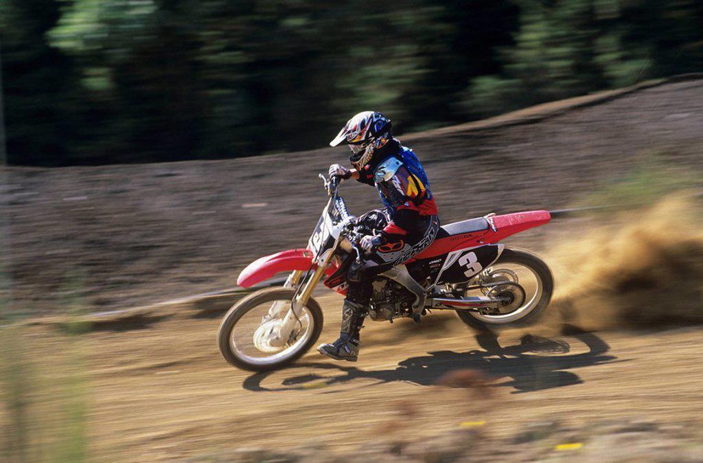Motocross rider, Wastelands Track, Nanaimo,Vancouver Island, British Columbia, Canada : Stock Photo