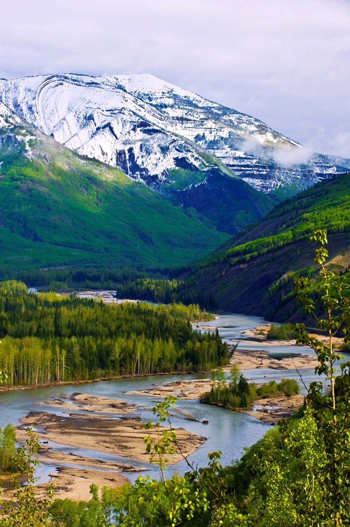 Spring landscape of the Smoky River and Mount Hemel, Alberta, Canada. : Stock Photo