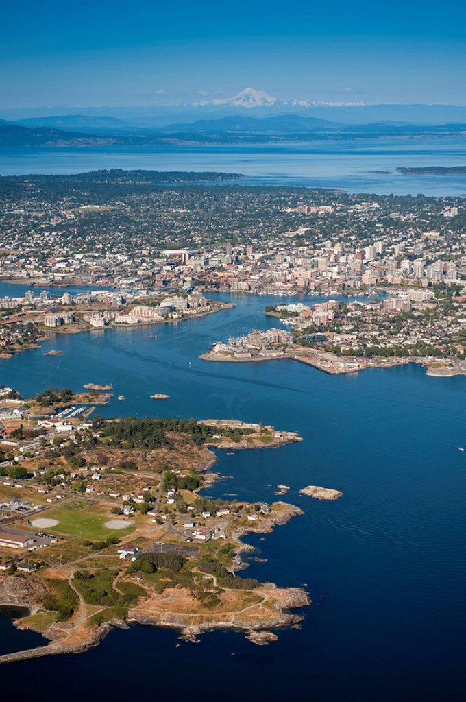 Stock Photo: 1990-40179 Aerial of Victoria and it´s harbour, British Columbia, Canada