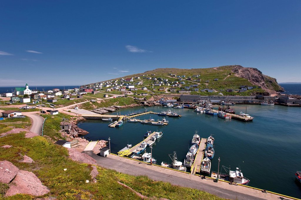 Village and harbour of Bay de Verde, Newfoundland and Labrador, Canada. : Stock Photo