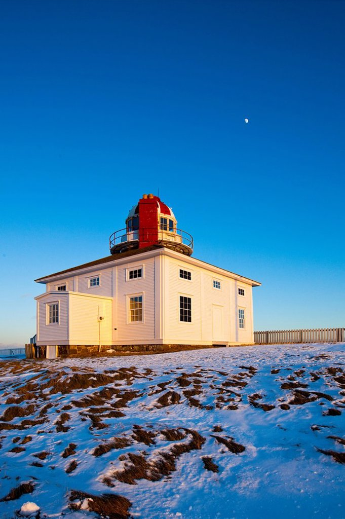 Stock Photo: 1990-40804 Lighthouse at Cape Spear National Historic Site in winter, Newfoundland and Labrador, Canada.