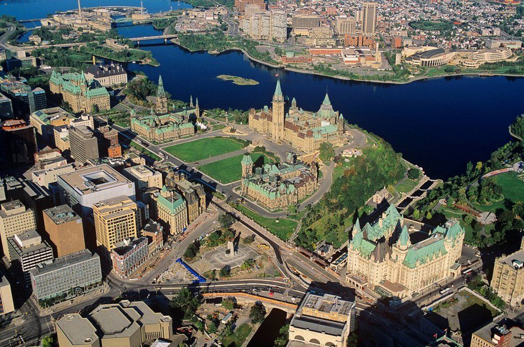 Stock Photo: 1990-4081 Aerial of parliament hill, Hull, Ottawa, Ontario, Canada