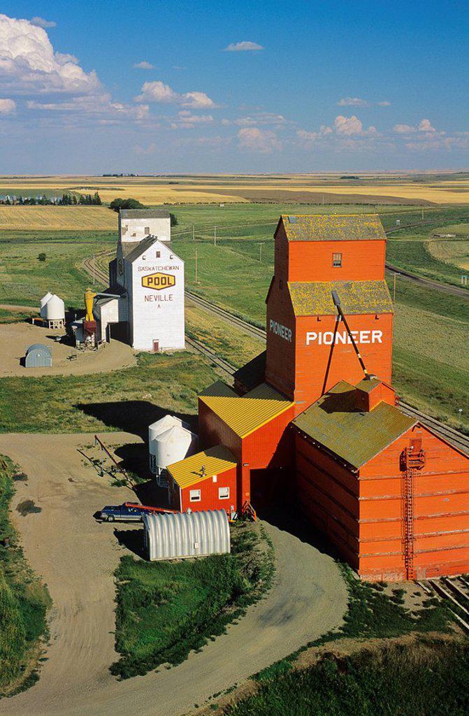 Aerial of grain elevators in Neville saskatchewan, Canada : Stock Photo