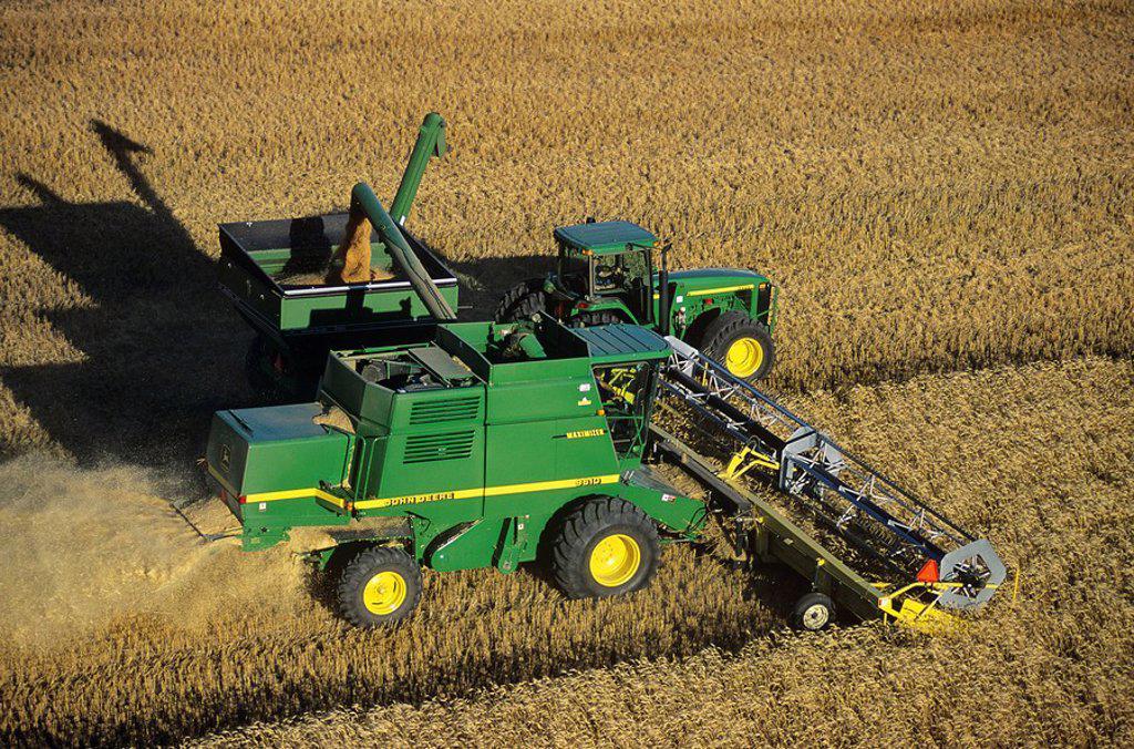 Aerial of a combine, Saskatchewan, Canada : Stock Photo