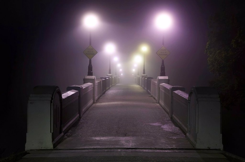 Assiniboine Park Footbridge crossing the Assiniboine River on foggy morning. Winnipeg, Manitoba, Canada. : Stock Photo