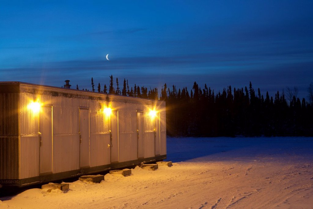 Lodging for workers at a seismic camp in the Oil Fields in Northern Alberta, Canada. : Stock Photo