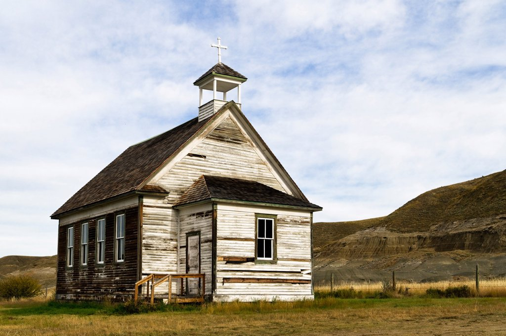 Abandoned church, Dorothy, Alberta, Canada : Stock Photo