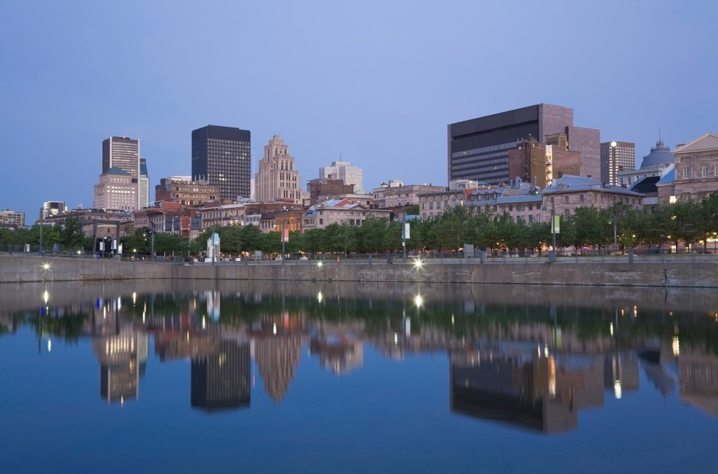 Stock Photo: 1990-42034 Old Montreal Skyline reflected in the Bonsecours Basin at Dawn, Quebec, Canada