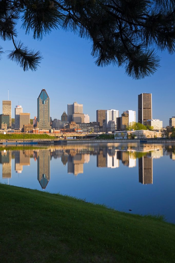 Stock Photo: 1990-42452 Montreal Skyline reflected in the Lachine Canal at Sunrise, Quebec, Canada