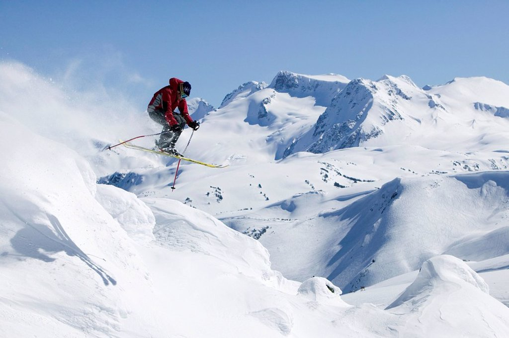 Stock Photo: 1990-4250 Skier getting air in Whistlers backcountry, British Columbia, Canada