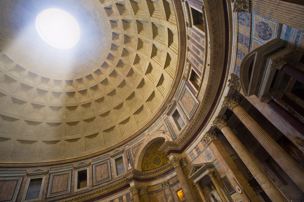 Interior of the Pantheon with a beam of light coming from the oculus, Rome, Italy : Stock Photo
