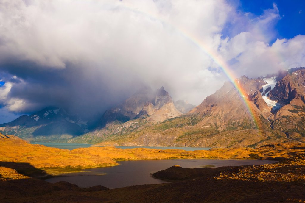 Stock Photo: 1990-43158 Rainbow and Cuernos del Paine at Sunrise, Torres del Paine National Park, Patagonia, Chile