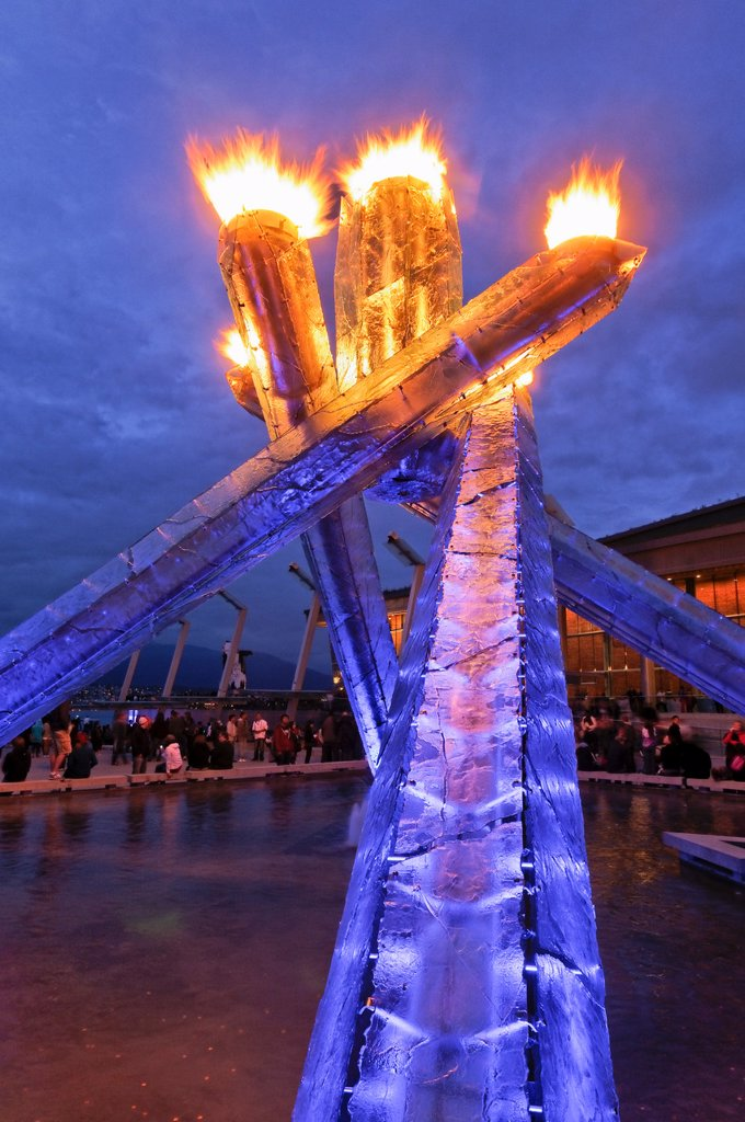 Stock Photo: 1990-43734 Olympic Flame will be re_lit on Canada Day and other special occasions, Jack Poole Plaza, Vancouver Convention Centre, Vancouver, British Columbia, Canada