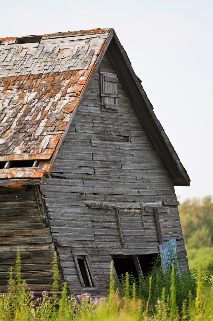 Stock Photo: 1990-43856 Old abandoned barn on the Canadian Prairie. Pembina Valley, Manitoba, Canada.