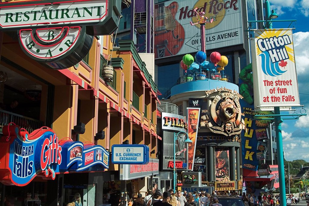 Clifton Hill is the major tourist promenade in niagara Falls  The street contains a number of gift shops, restaurants, hotels and themed attractions  Niagara Falls, Ontario, Canada : Stock Photo
