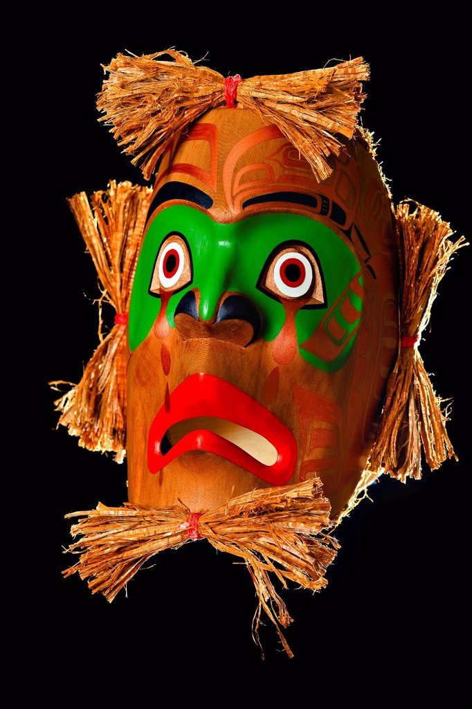 Stock Photo: 1990-45234 Mourning Mask by Sandy Johnson, First Nations Artist, original West Coast native art, Just Art Gallery, Port McNeill, Northern Vancouver Island, British Columbia, Canada.