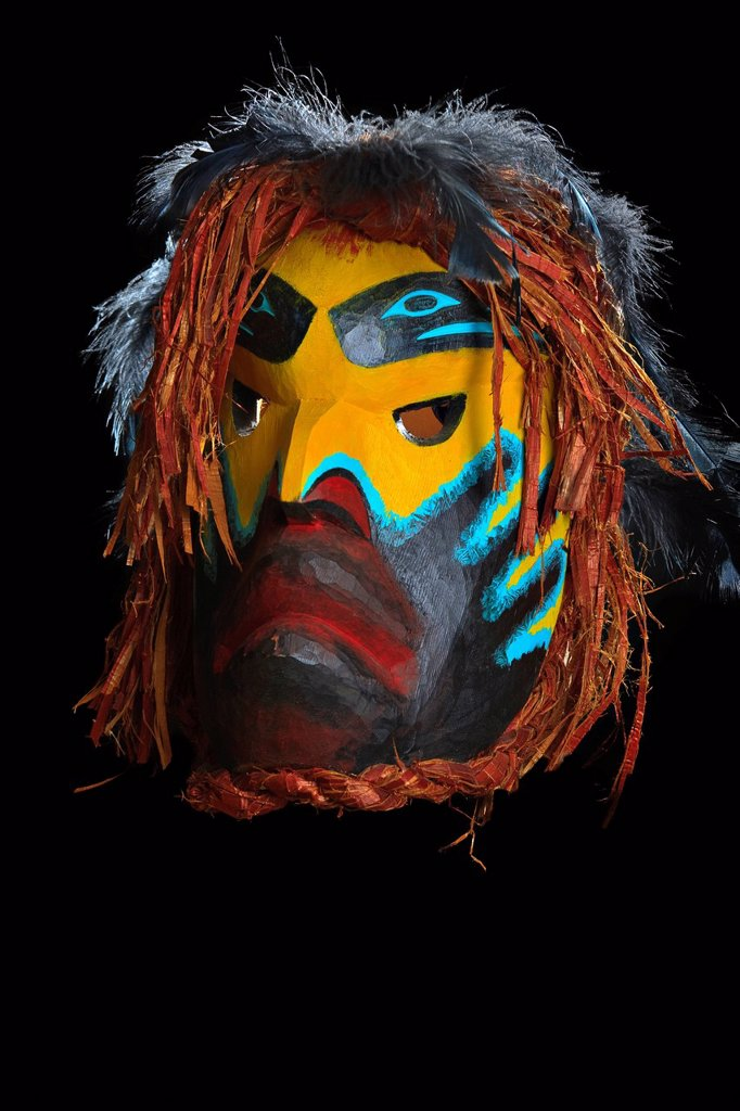Stock Photo: 1990-45239 Ghost Mask by Beau Dick, Kwakwaka´wakw First Nations Artist, original West Coast native art, Just Art Gallery, Port McNeill, Northern Vancouver Island, British Columbia, Canada.