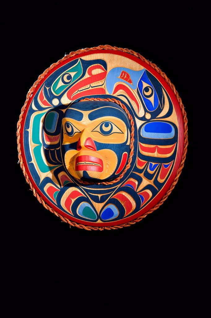Eagle and Sea lion Moon Mask by Trevor Hunt, Kwagiulth First Nation Artist, original West Coast native art, Just Art Gallery, Port McNeill, Northern Vancouver Island, British Columbia, Canada. : Stock Photo