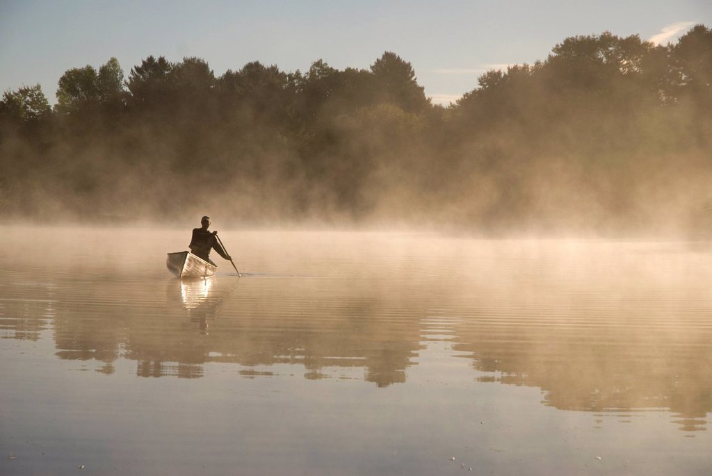 Solo Paddler on the Severn River in Muskoka, Ontario, Canada : Stock Photo