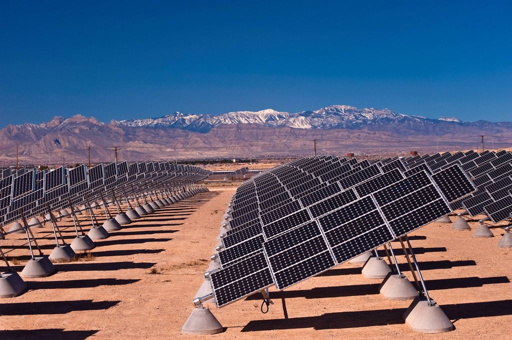 Nellis Photovoltaic Solar Power Plant, Nellis Solar Power Plant, Nellis Air Force Base, Las Vegas, Clark Country, United States of America. : Stock Photo