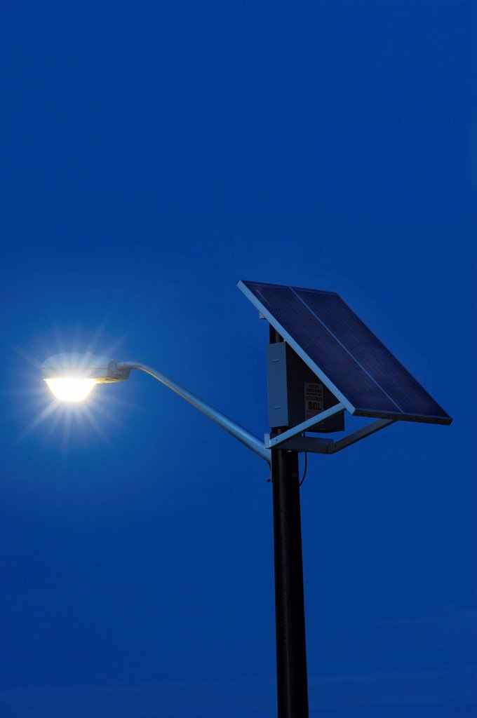 Solar Powered street lamp. : Stock Photo