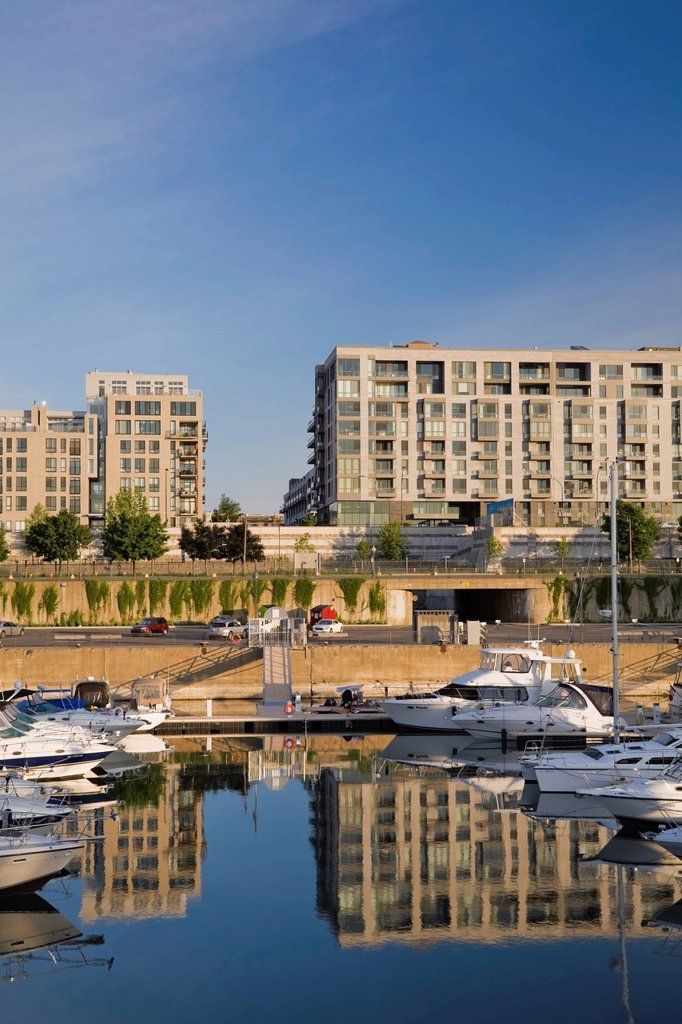 Stock Photo: 1990-46328 Condominium Buildings and the Yacht Marina in the Old Port of Montreal, Quebec, Canada
