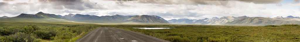 The Dempster Highway and the Ogilvie Mountains at Two Moose Lake in Tombstone Territorial Park, Yukon, Canada : Stock Photo