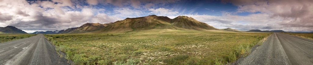 180 degree view of the Blackstone Uplands in Tombstone Territorial Park, Yukon, Canada : Stock Photo