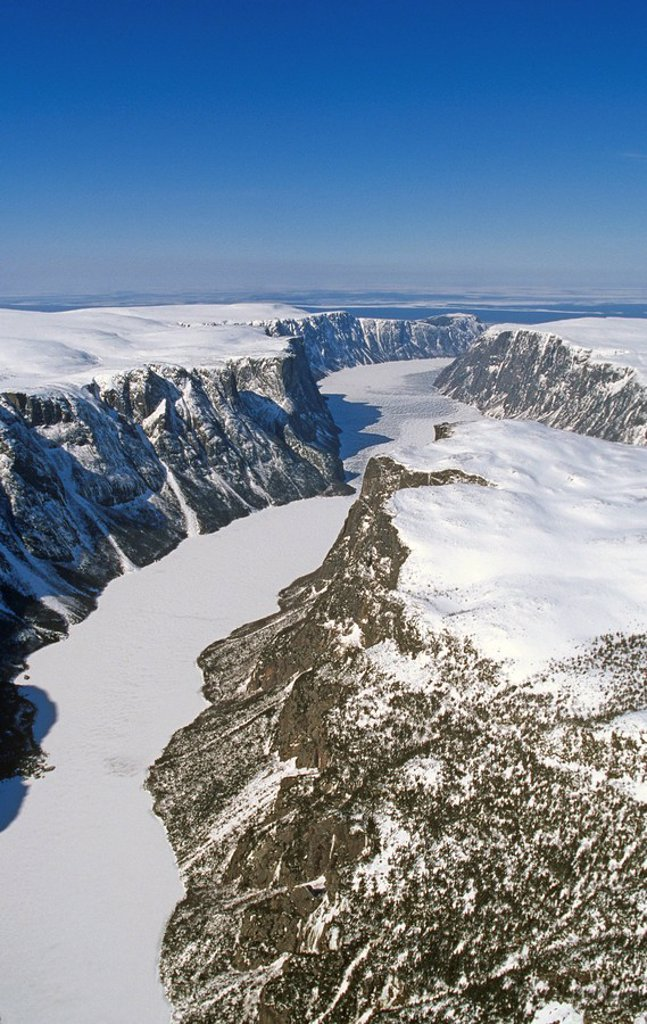 Aerial of Western Brook Pond in winter, Gros Morne National Park, Newfoundland and Labrador, Canada : Stock Photo