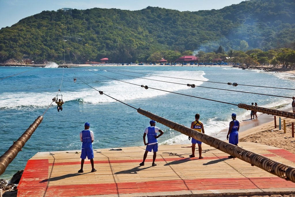 Dragon´s Breath zipline in Labadee Labadee or Labadie, Haiti. : Stock Photo