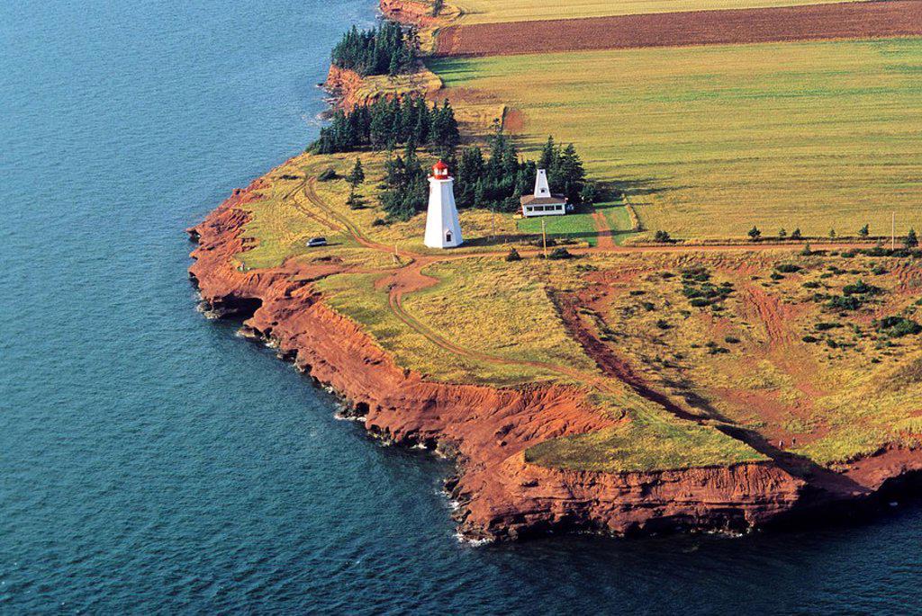 Stock Photo: 1990-4817 Aerial of Seacow Head Lighthouse, Prince Edward Island, Canada