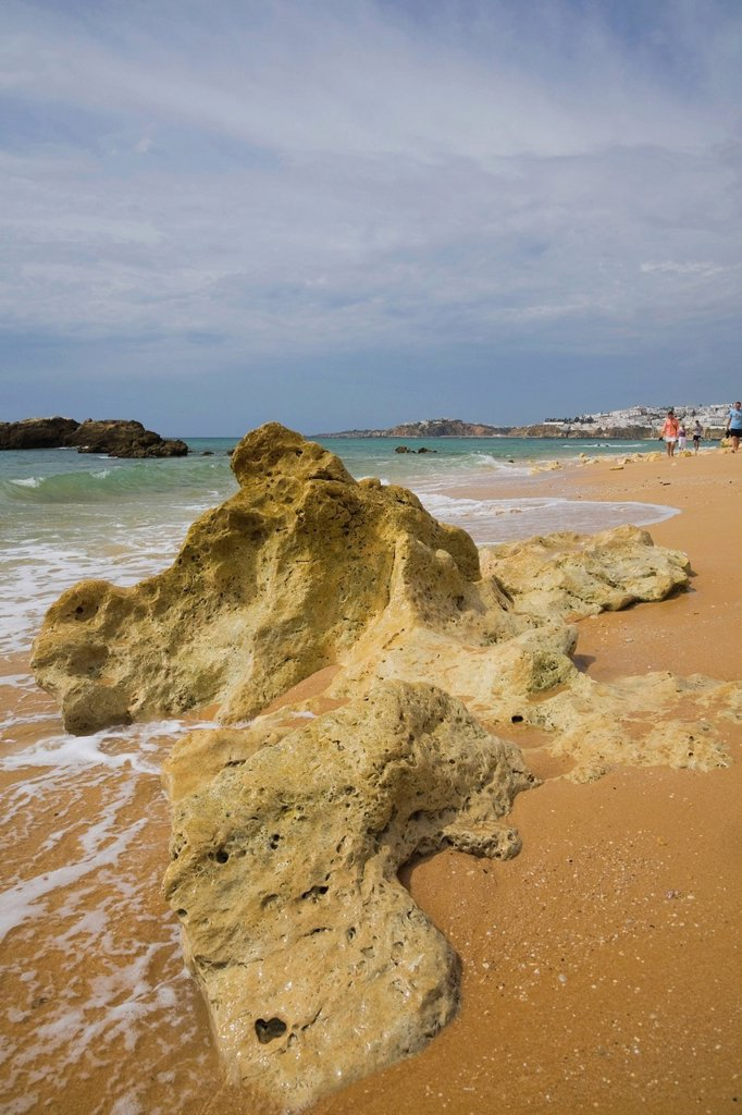 Beach at Albufeira in the Algarve region, Portugal, Europe : Stock Photo