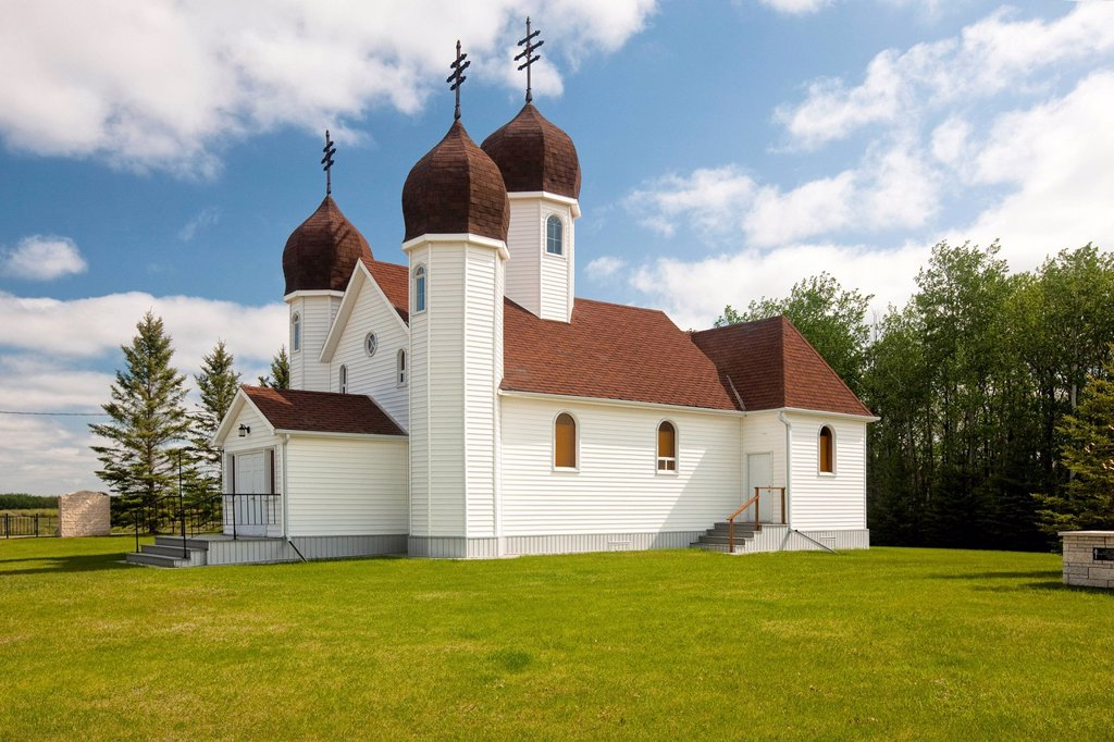 Stock Photo: 1990-48853 Holy Trinity Urainian Church, Lenord, Manitoba, Canada