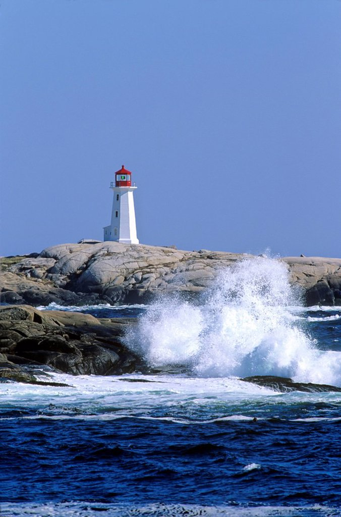 Stock Photo: 1990-4910 Peggy´s Cove Lighthouse, Peggy´s Cove, Nova Scotia, Canada