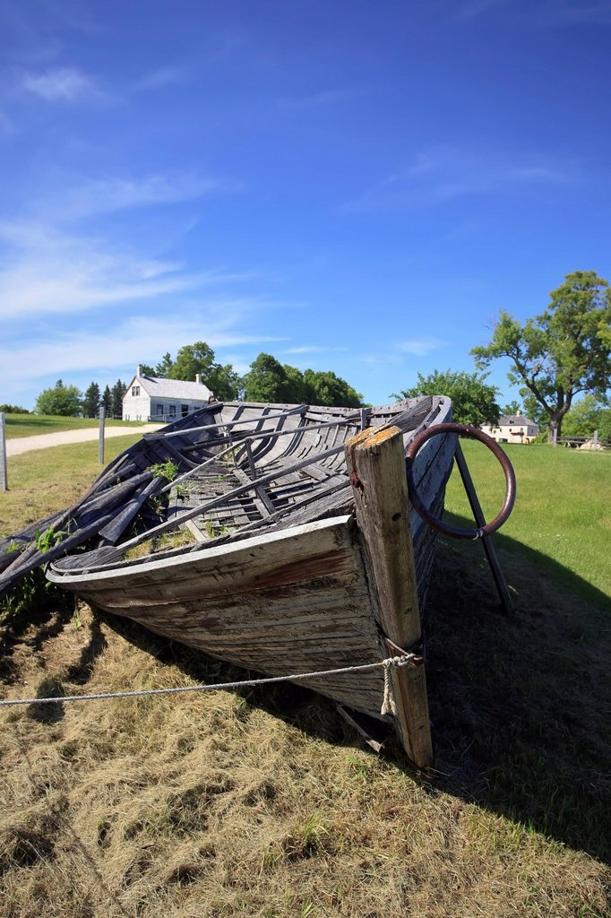 York Boat, Lower Fort Garry National Historic Site, Manitoba, Canada. : Stock Photo