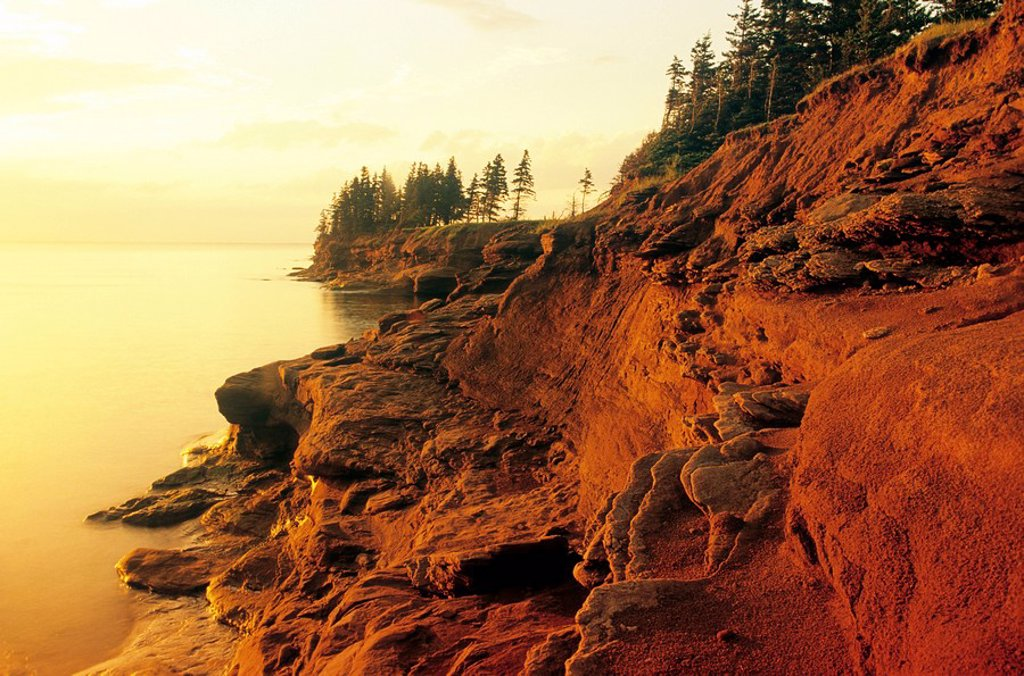 Sandstone cliffs at Seacow Head, Prince Edward Island, Canada : Stock Photo