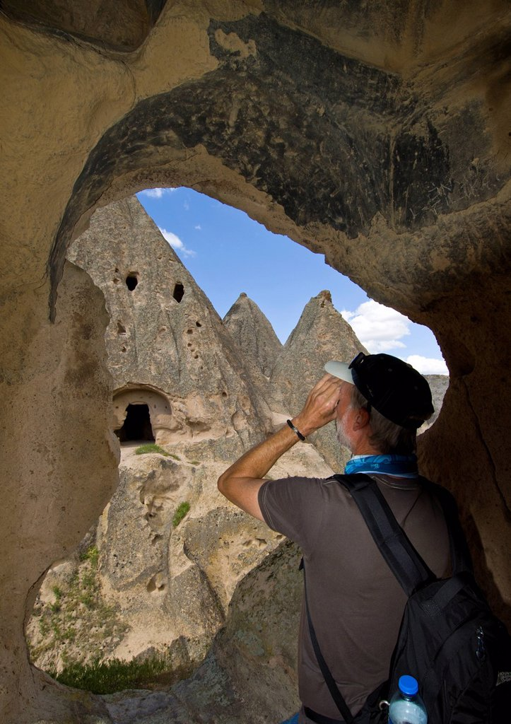 Cave dwelling in Cappadocia, also Capadocia, Central Anatolia, largely in Nevsehir Province, Turkey : Stock Photo