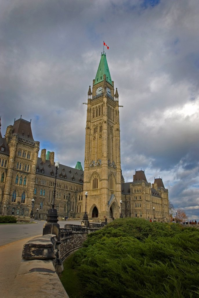 The Peace Tower at the House of Parlaiment in Ottawa, Ontario, Canada : Stock Photo