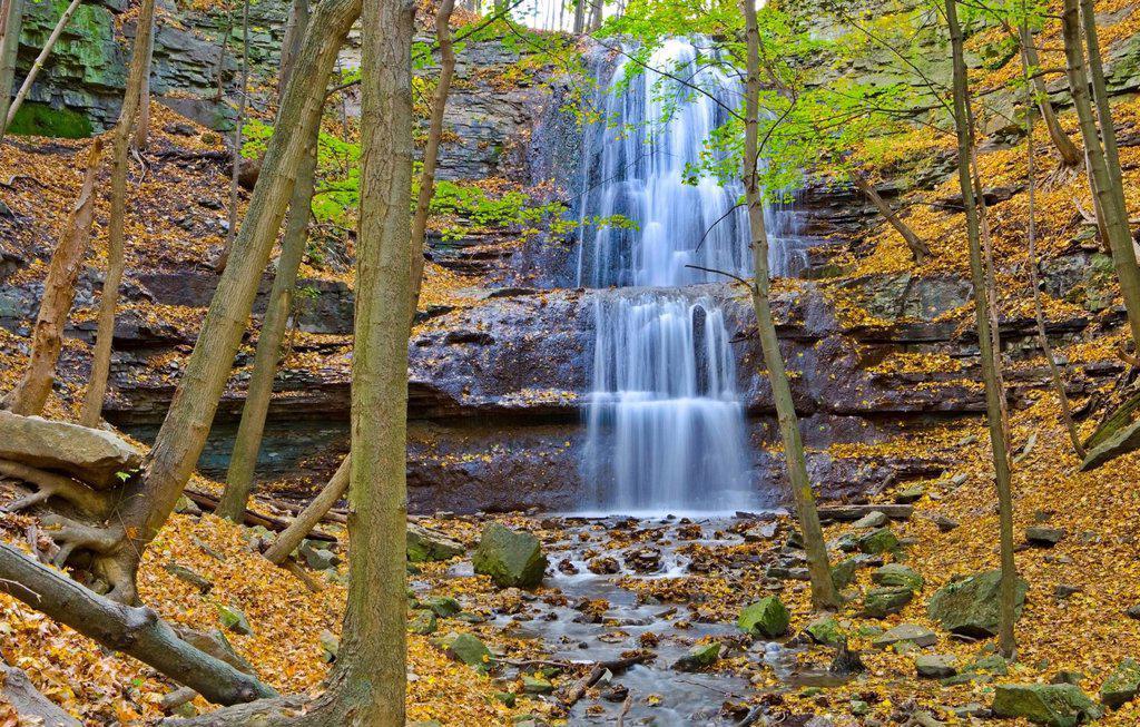 Stock Photo: 1990-50811 Sherman Falls, Bruce Trail, Niagara Escarpment, Hamilton, Ontario, Canada