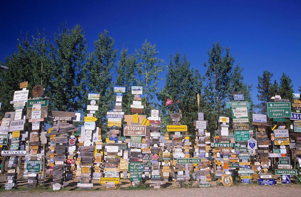 Signpost Forest, Watson Lake along Alaska Highway, Yukon Territory, Canada. : Stock Photo