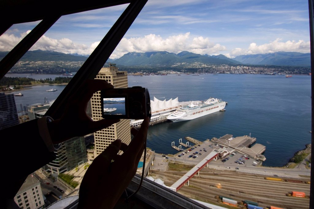 Looking down on the Port of Vancouver and Canada Place, Vancouver, British Columbia, Canada. : Stock Photo