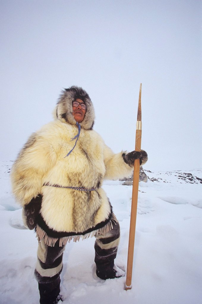 Stock Photo: 1990-51945 Inuit Elder, Simeonie Aqpik in traditional clothing, Kimmirut, Baffin Island, Nunavut, Canada.
