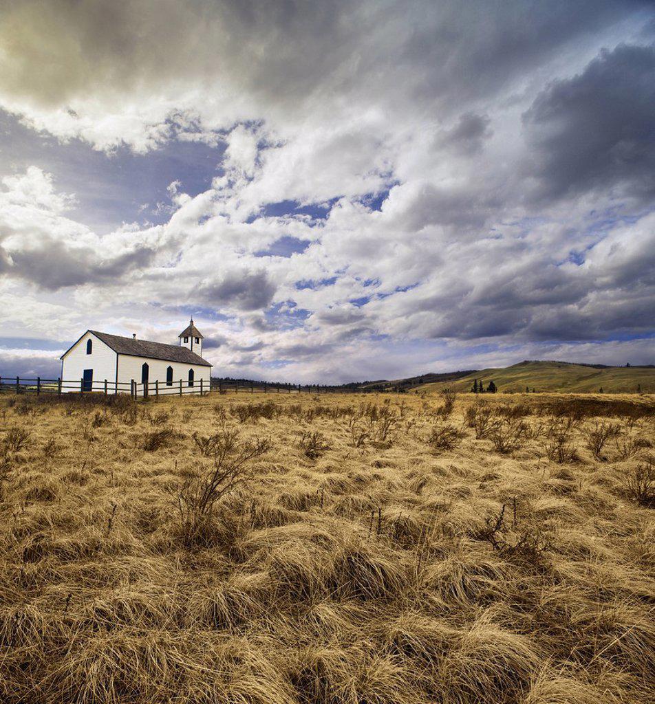 McDougall United Church in the prairies near Morley, Alberta, Canada : Stock Photo