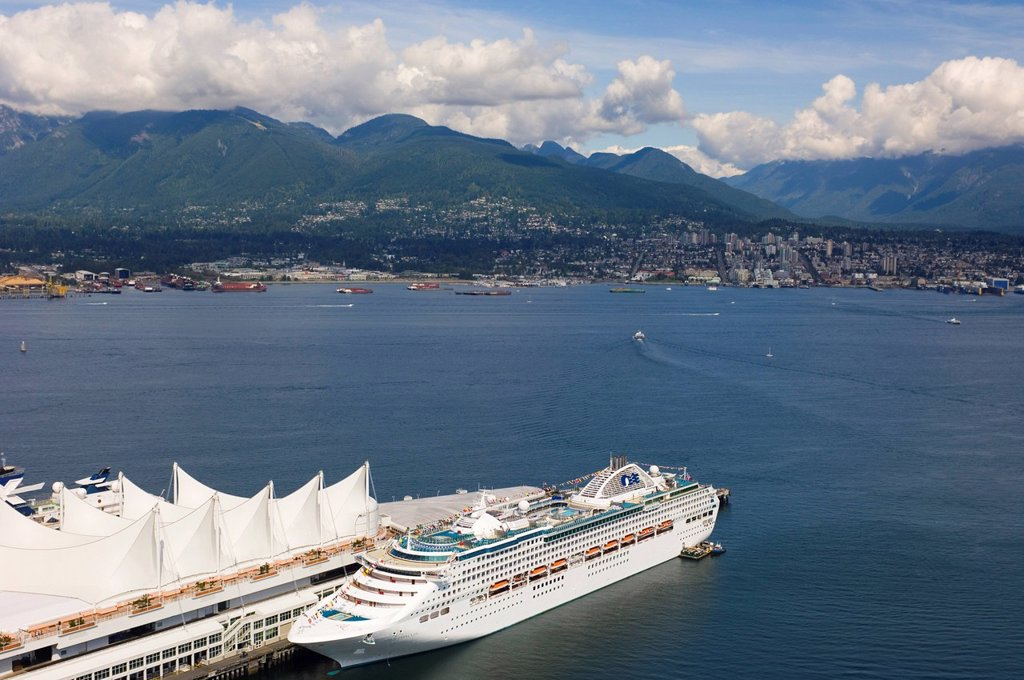 Stock Photo: 1990-52344 Port of Vancouver and Canada Place, British Columbia, Canada.