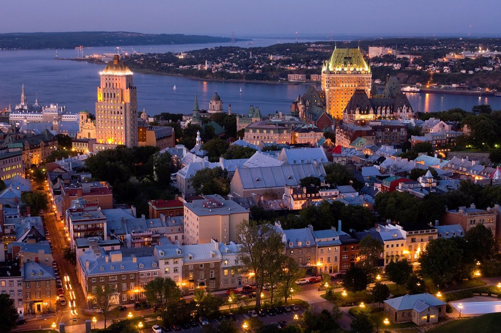 Stock Photo: 1990-53015 High viewpoint twilight view of Vieux_Quebec and Vieux_Port. the old sections of Quebec City, Quebec, Canada.