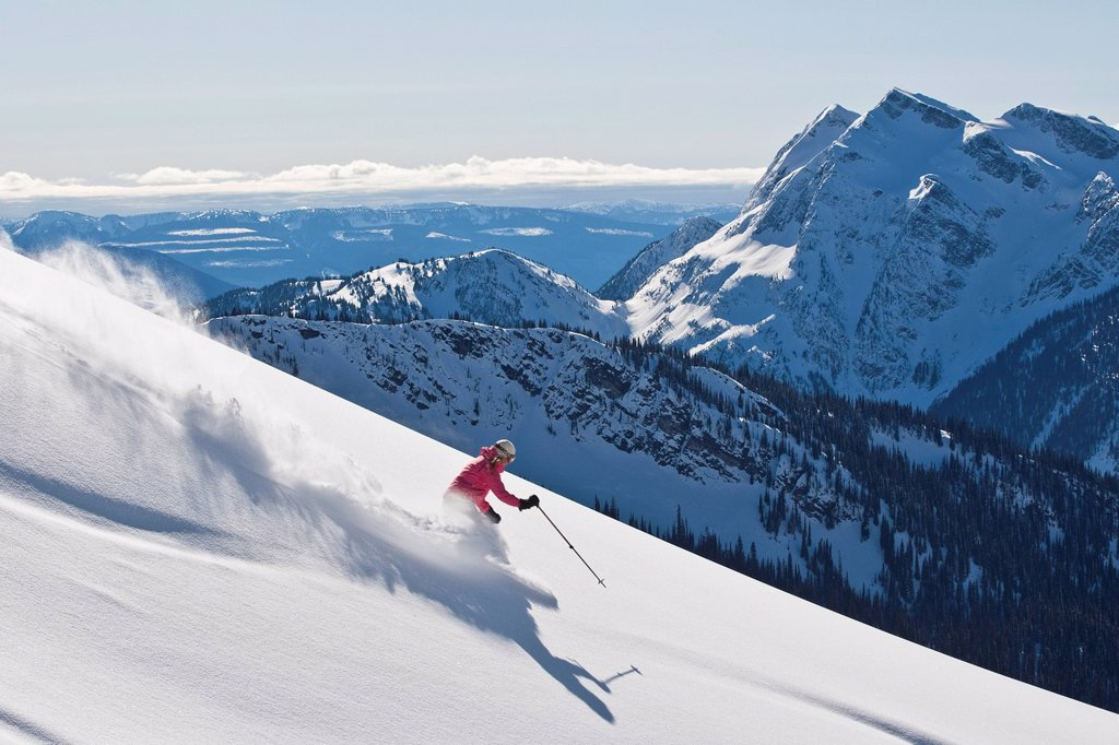Young woman skiing untracked powder at Mustang Powder Catskiing, British Columbia, Canada. : Stock Photo