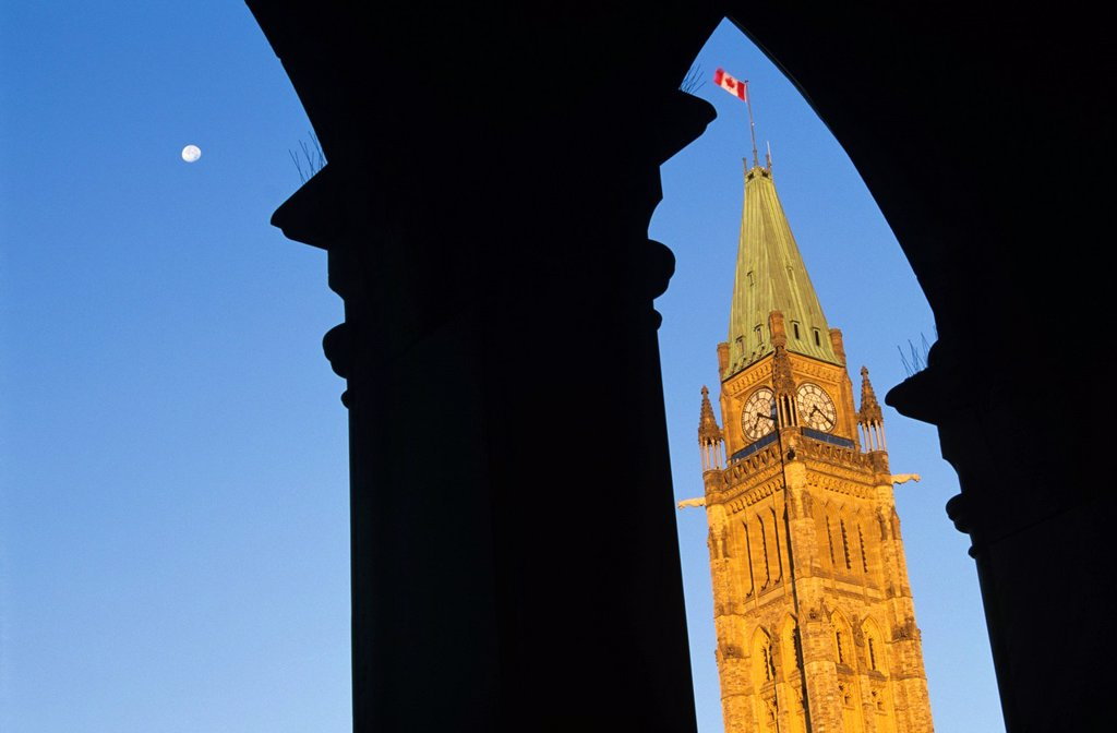 The Peace Tower of the Canadian Parliament Buildings, Ottawa, Ontario, Canada. : Stock Photo