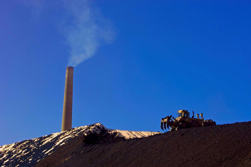 Slag dump slope stabilizing operation with Superstack, Sudbury, Ontario, Canada. : Stock Photo